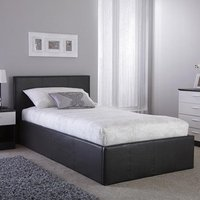 Side Lift Ottoman Fabric Single Bed In Grey
