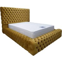 Product photograph showing Sidova Plush Velvet Upholstered Double Bed In Mustard