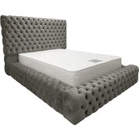 Product photograph showing Sidova Plush Velvet Upholstered King Size Bed In Grey