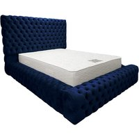 Product photograph showing Sidova Plush Velvet Upholstered Single Bed In Blue