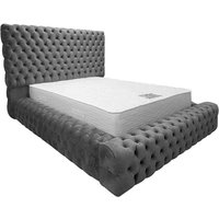 Sidova Plush Velvet Upholstered Single Bed In Steel