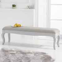 Product photograph showing Sienna Grey Large Dining Bench With Grey Fabric Seat