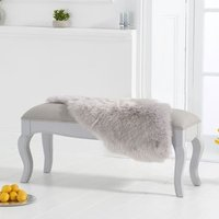 Product photograph showing Sienna Grey Small Dining Bench With Grey Fabric Seat