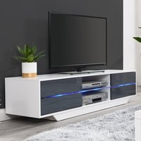 Product photograph showing Sienna White And Grey High Gloss Tv Stand With Multi Led Lights