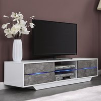 Product photograph showing Sienna White Gloss And Concrete Effect Tv Stand With Multi Led
