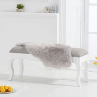 Product photograph showing Sienna White Small Dining Bench With Grey Fabric Seat