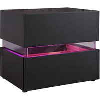 Sienna Bedside Cabinet In Black With 2 Drawers And LED
