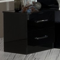 Simona Wooden Bedside Cabinet In Black High Gloss With 2 Drawers