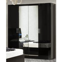 Product photograph showing Simona Wooden Wardrobe In Black High Gloss With 4 Doors
