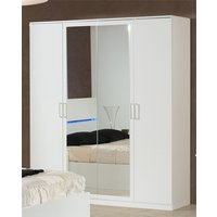 Product photograph showing Simona Wooden Wardrobe In White High Gloss With 4 Doors