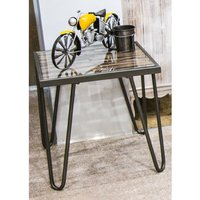 Product photograph showing Simons Square Clear Glass Side Table With Anthracite Metal Legs