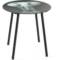 Product photograph showing Simons Glass Side Table In Elephant Print With Black Metal Legs