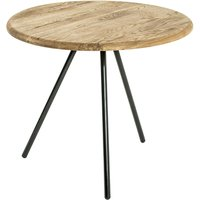 Product photograph showing Simons Large Wooden Side Table In Oak With Black Metal Legs