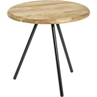 Product photograph showing Simons Small Wooden Side Table In Oak With Black Metal Legs