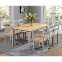 Broman Dining Table In Oak And Grey With 6 Dining Chairs