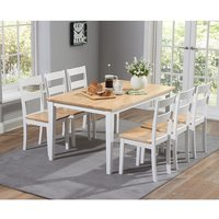 Broman Dining Table In Oak And White With 6 Dining Chairs