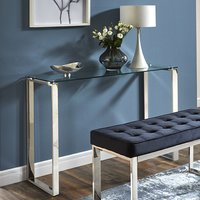 Product photograph showing Sioux Clear Glass Console Table With Stainless Steel Legs