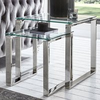 Product photograph showing Sioux Clear Glass Nest Of 2 Tables With Stainless Steel Legs