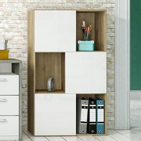 Product photograph showing Sipol Wooden Shelving Unit In Brushed Oak And Matt White
