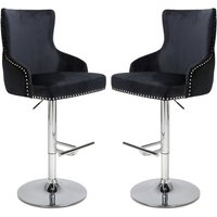 Product photograph showing Sirocco Black Brushed Velvet Bar Stools In Pair