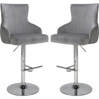 Product photograph showing Sirocco Grey Brushed Velvet Bar Stools In Pair
