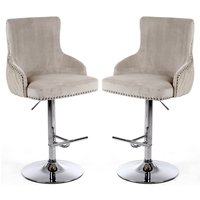 Product photograph showing Sirocco Mink Brushed Velvet Bar Stools In Pair