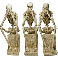 Product photograph showing Skeleton Statues Mimicking Three Wise Monkeys Resin Sculpture