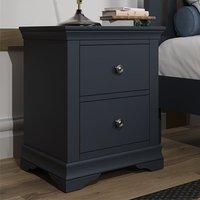 Skokie Large Wooden 2 Drawers Bedside Cabinet In Midnight Grey