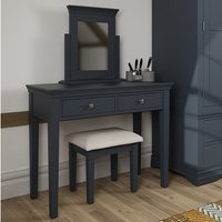 Skokie Wooden Dressing Table Set In Midnight Grey