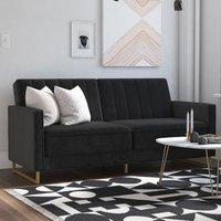 Skylar Velvet Upholstered Sofa Bed In Black With Gold Metal Legs