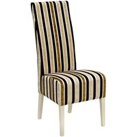 Product photograph showing Skyline High Back Clio Stripe Dining Chair In Stone Finish