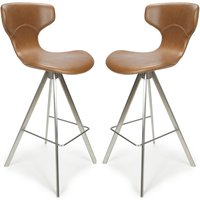 Product photograph showing Skypod Curved Back Urban Tan Leather Effect Bar Stools In Pair