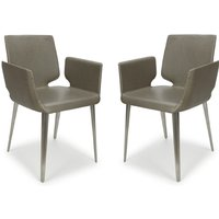 Product photograph showing Skypod Square Leather City Grey Dining Chairs In Pair