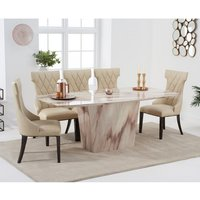 Snyder Marble Dining Table In Brown With Eight Tybrook Chairs