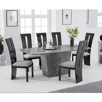 Snyder Marble Dining Table In Grey With Eight Ophelia Chairs
