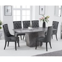 Product photograph showing Snyder Marble Dining Table In Grey With Eight Tulip Chairs