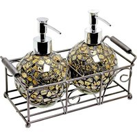 image-Ravello Pair Of Mosiac Glass Soap Dispenser In Gold With Basket