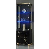 Product photograph showing Sofina Gloss Display Cabinet In Black And Gold With 2 Doors And Led