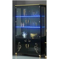 Product photograph showing Sofina Gloss Display Cabinet In Black And Gold With 4 Doors And Led