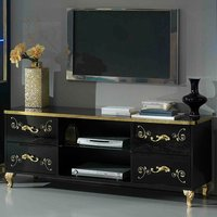 Product photograph showing Sofina Tv Stand In Black High Gloss And Gold With 4 Drawers