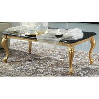 Product photograph showing Sofina Wooden Coffee Table In Black High Gloss And Gold