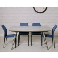 Product photograph showing Soho Dining Set With 4 Blue Milo Stackable Chairs