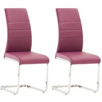 Product photograph showing Soho Purple Faux Leather Dining Chair In A Pair