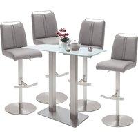 Soho White Glass Bar Table With 4 Giulia Ice Grey Leather Stool