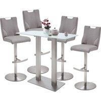 Soho White Glass Bar Table With 4 Jiulia Ice Grey Leather Stool