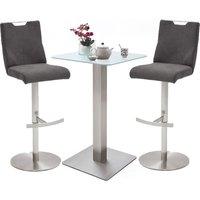 Soho White Glass Bar Table With 2 Jiulia Fabric Grey Stool