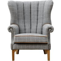 Product photograph showing Solna Leather And Wool Fluted Lounge Chair In Grey