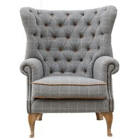 Product photograph showing Solna Leather And Wool Wing Lounge Chair In Grey
