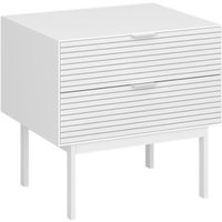 Soma Wooden Bedside Cabinet In White With 2 Drawers