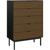 Soma Wooden Chest Of Drawers In Black And Pine With 5 Drawers